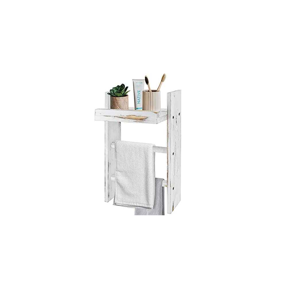 Y&Me Wall Hanging Ladder Towel Rack with Shelf, Rustic Wall Mounted Storage Towel Ladder Holder with Towel Bar, 3 Tiers…