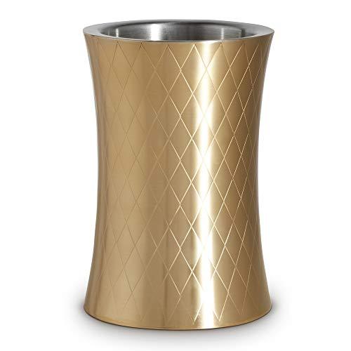 (VonShef Gold Wine Chiller Bottle Cooler, Etched Brushed Gold, Stainless Steel, Double Walled, Stemless Holder )