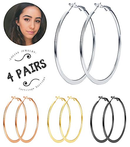 LOLIAS 4 Pairs Stainless Steel Hoop Earrings for Women Girls Fashion Earrings Hoops