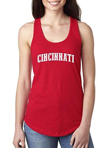 City of Cincinnati Ohio State Flag Traveler`s Gift Women's Racerback Tank Top (MR) Red