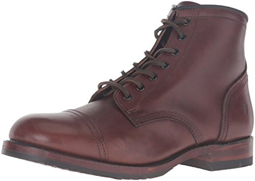 FRYE Men's Logan Cap Toe Combat Boot, Walnut, 7.5 D US - Logan Leather Shoes