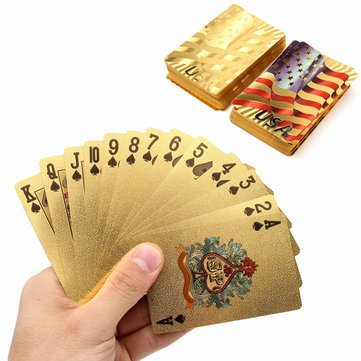 Board Game Toys - Gold Plastic Coated Playing Cards Poker Game Usa National Flag Style - Gold Plastic Silverware Plates Cups Forks Cutlery Coated Poker - 1PCs