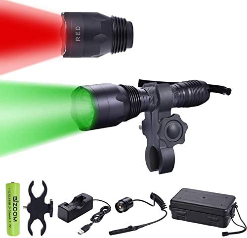BIZOOM KL65 Green RED Hunting Flashlight Night Vision Varmint Light Kit 650 Lumen Long Range Scan Spotlight Torch for Predator Hog Fox Coyote with Universal Mount,Remote Switch,18650 Battery Charger