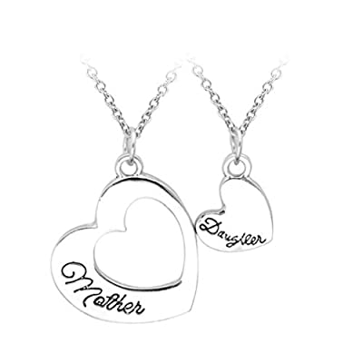 Ubeauty Mom Daughter Family Love Double Heart Pendant Necklace