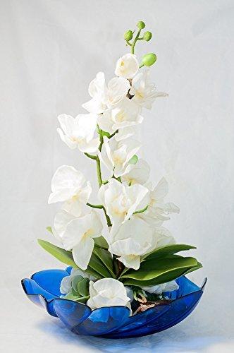 Weisse Orchidee In Blauer Glasschale Tischdeko Gesteck Mit