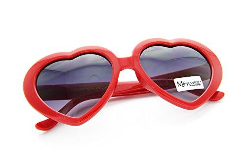 80's Love Heart Shaped sunglasses Lolita Smoke Lens (Bold Red, - Shaped Lolita Heart Glasses