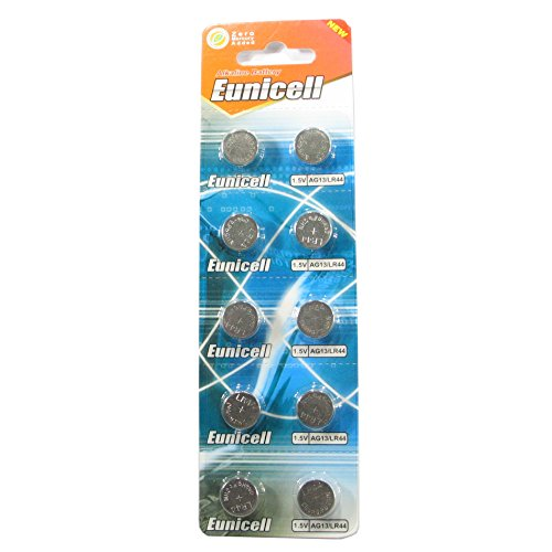 10 Eunicell AG13 A76 LR44 357 L1154 Button Cell 1.5V Battery Long Shelf Life 0% Mercury (Expire Date Marked)
