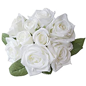 Lemax Artificial Flowers 9 Heads Real Looking Fake Roses for Wedding Bouquets Party Arrangements Home Garden Office Decorations(Milk White) 63