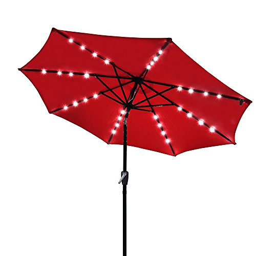 Yescom 9′ Outdoor Solar Powered LED Umbrella 8 Ribs w/ 32 Lights for Patio Garden Deck Crank Tilt UV30 Red