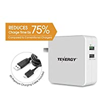 Tenergy 30W 2 Port Adaptive Fast USB Wall Charger Qualcomm Quick Charge 2.0 Smart Detect - Galaxy S6 / Edge / Plus, Note 5 / 4, LG G4, HTC One M8 / M9, Nexus 6, iPad, iPhone & More (White)