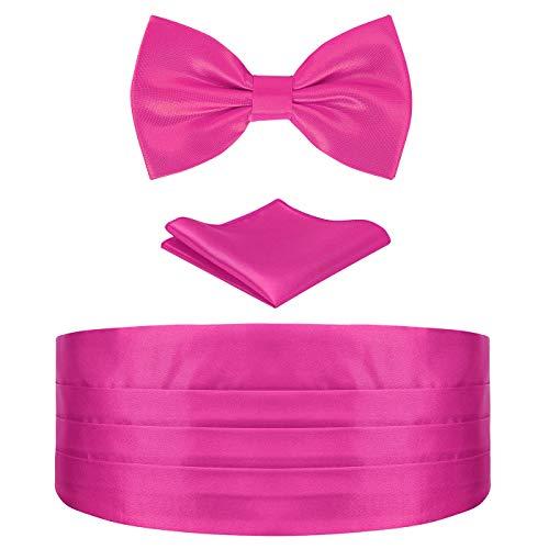 HDE Pink Cummerbund, Bow Tie, Pocket Square for Men Satin Tuxedo Set ()