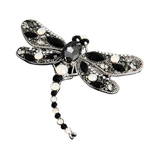 Crystal Rhinestone Dragonfly Brooch Pin Jewelry Birthday Gifts (Black)