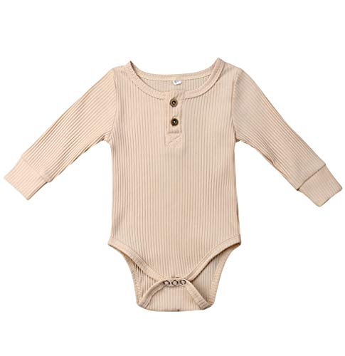 Emmababy Unisex Newbown Baby Girls Knitted Romper Long Sleeve Sweater Buttons Bodysuit Pajamas Top Fall Winter Clothing (Birth to 3 Months, Light Beige) from Emmababy