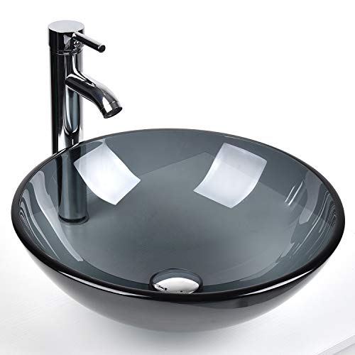 Bathroom Round Glass Vessel Sink Basin with Faucet Pop-Up Drain (Grey Crystal)