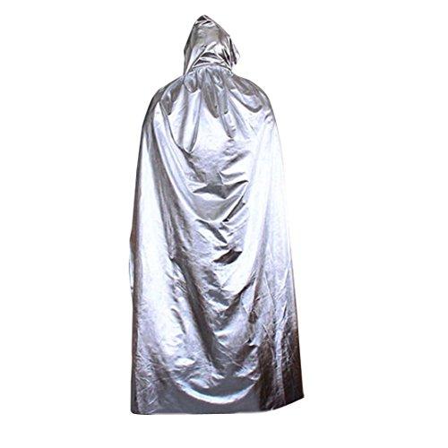Oksale Halloween Death Hooded Cloak Coat Wicca Robe Cape Shawl Halloween Party Satin Long Streetwear (Silver)