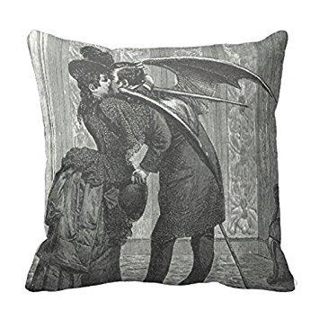 Gothic Home Decor (Vampire Kiss Victorian Gothic Decorative Pillow Case)