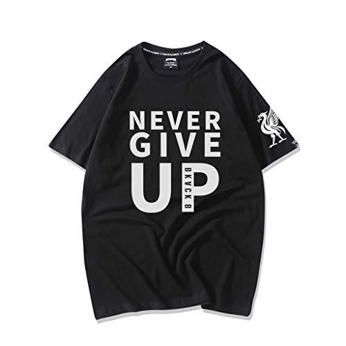 SUPER FAN European Championshi English Premier League Red Army Liverpool Salah Never Give Up Football Shirt, Short Sleeve T-Shirt Summer (Color : 1, Size : 3XL) 1 Premier Football Jersey