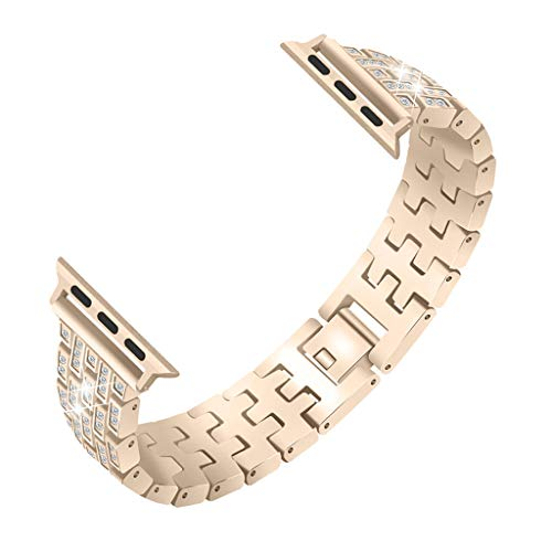 Aobiny Watch Band - Quick Release -Choose Color - Woman Girl Bling Crystal Stainless Steel Metal Bracelet Strap Band Replacement for Apple Watch Series 4 40mm