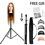 HYOUJIN Wig Stand Metal Adjustable Cosmetology Hairdressing Training Mannequin Head Tripod Stand for Canvas Block Wig Head Stand with Carry Bag