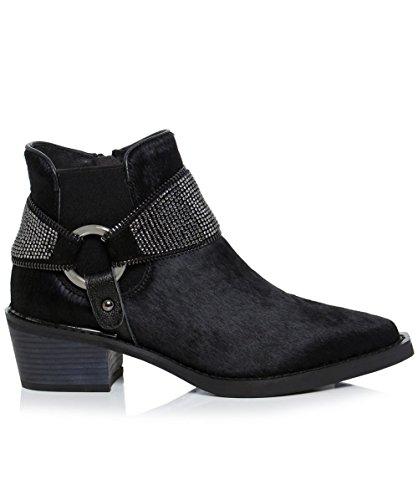 Alma en Pena Mujeres Estribo de diamante botas de montar Negro Negro