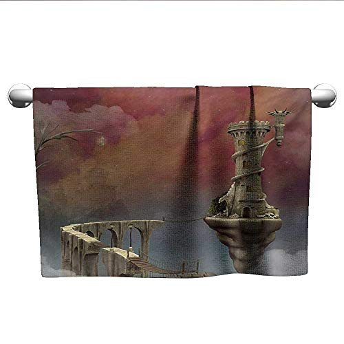 (alisoso Fantasy,Pool Towels Fairy Tale Medieval Castle High Clouds in The Foggy Mist Air Magical Scenery Absorbent Towel Tan Coral Blue W 28
