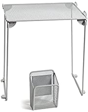 U Brands Gray Mesh Locker Organization Kit, Includes Magnetic Cup and Folding Shelf, 2 Pieces