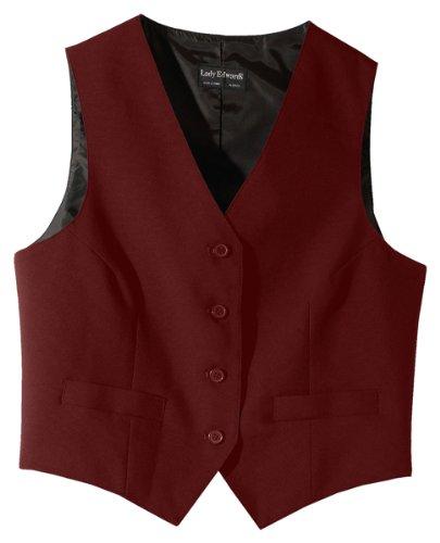 Ed Garments Women's Fully Lined V-Neck Economy Vest, BURGUNDY, X-Large (Lined Fully Vest Lined)
