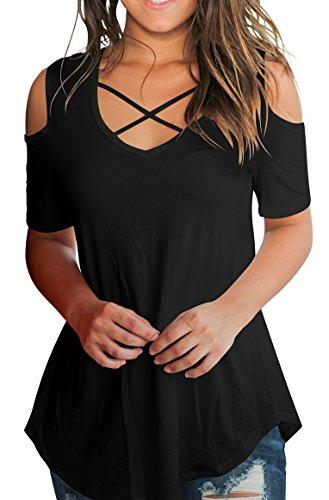 Womens Cross Front Tops Deep V Neck Casual Cold Shoulder Tees T Shirts Black XL