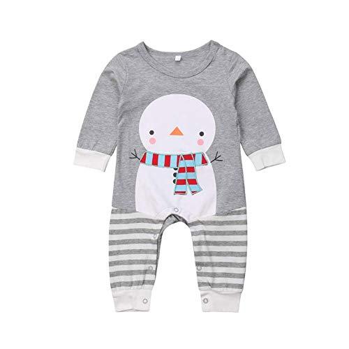 HESHENG Baby Boys Girls Christmas Romper Cartoon Snowman Printed Stripe Long Sleeve Jumpsuit (Christmas,12-18 Months)