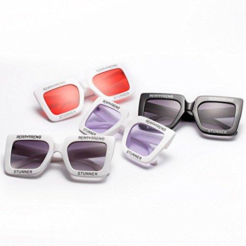 Mujer con Marco de Sol Caja UV Gafas integradas de Gafas Sol para Negro Hunpta rojo Grande de ICBqnvwW