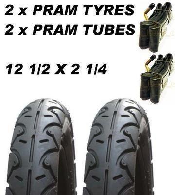 2 x Pram Tyres & 2 x Tubes 12 1/2 X 2 1/4 Slick Maxi Cosi Britax Trekker ASC