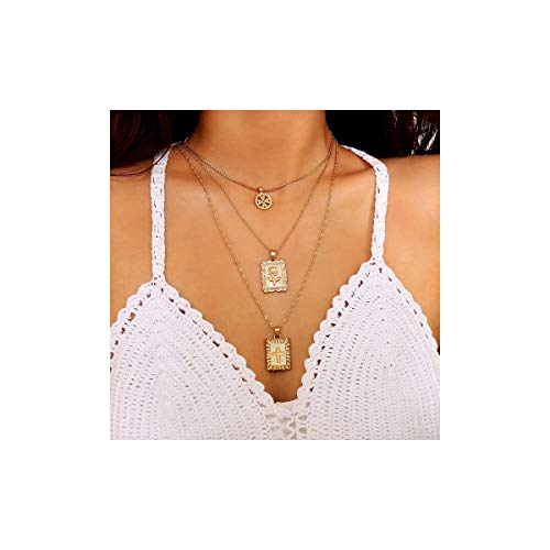 Royal Amoyy Vintage Gold Plated Layered Coin Rose Cross Chain Low Cut Sweater Boho Multi Pendant Necklace Choker Jewelry for Women Girls