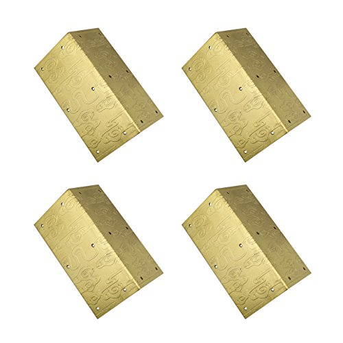 RZDEAL 4pcs 1.6'' x 3.1'' Embossing Brass Box Corner Protector Antique Hardware Desk Edge Guards Right Angle Wood Jewelry Box Photo Frame Accessories (Antique Photo Corners)