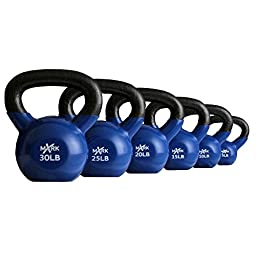 XMark 5 lb. to 30 lb. Vinyl Coated Kettlebell Set XM-3331-105S