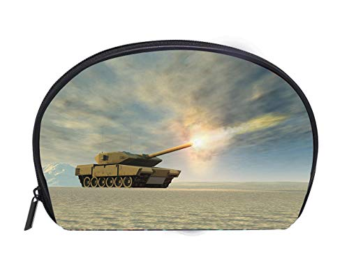 Portable Toiletry Cosmetic Bag Battle tank firing Travel Cosmetic Case Luxury Makeup Artist Bag