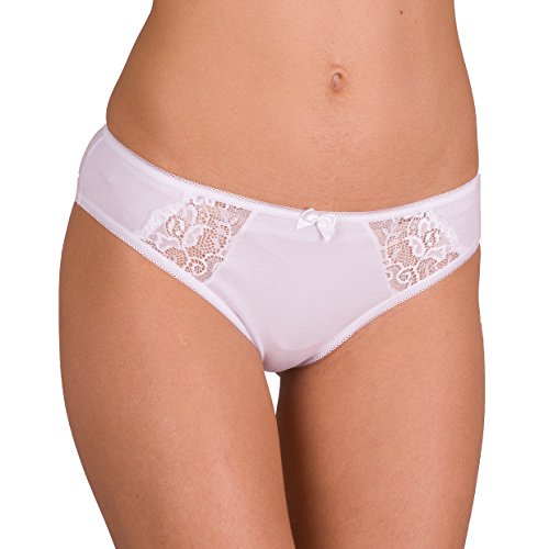 CFB 023 0202 Women's Best Seller Sexy Soft Cotton Lace-Trim Underwear Bikini Brief Panty, 2XL/14 White 1 Pack