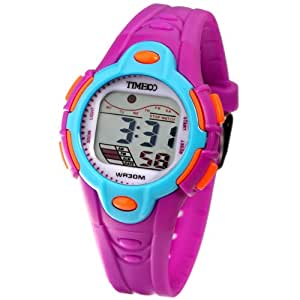 Time100 Kids' LCD Cold Light Multifunction Purple Strap Digital Watches#W40009L.05A