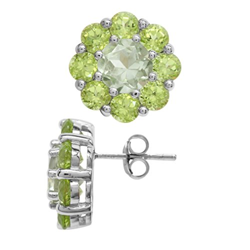 2.6 Ct Green (2.6ct. Natural Green Amethyst & Peridot Gold Plated 925 Sterling Silver Flower Cluster Post Earrings)