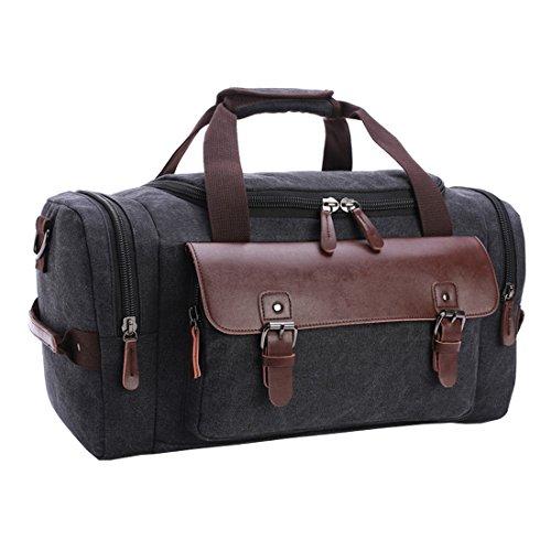 Cool&D Umhängetasche Tragetasche Canvas Schultertasche Große Kapazität Gepäcktasche Reisetaschen Vintage Canvas Tasche für Herren und Damen Dunkelgrau HyWWTFH