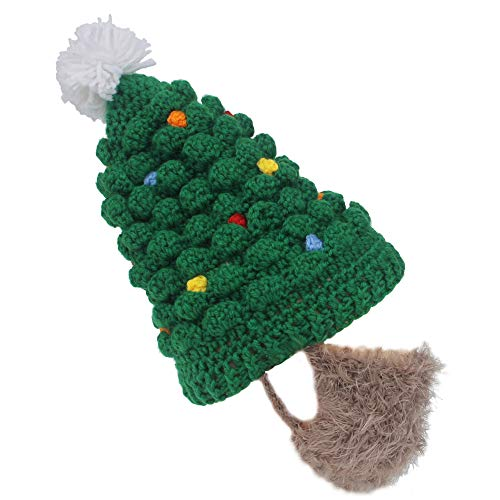 Xinqiao Kids Knitted Santa Beard Hat Funny Wig Skull Beanie Facemask Headgear (Brown Beard) ()