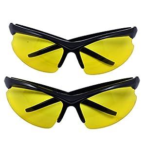 OX Legacy2 Pack Yellow Wraparound Blue Light Blocking Glasses, 76mm Black Frame