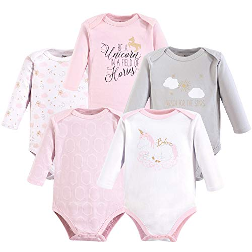 Yoga Sprout Unisex Baby Cotton Bodysuits, Unicorn Long Sleeve 5 Pack, 12-18 Months - Long Month Sleeve 18 Onesies