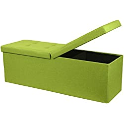 "Otto & Ben 45"" Storage Ottoman Folding Toy Box Chest with Smart Lift Top Upholstered Tufted Bench Foot Rest for Bedroom, Lime Green"