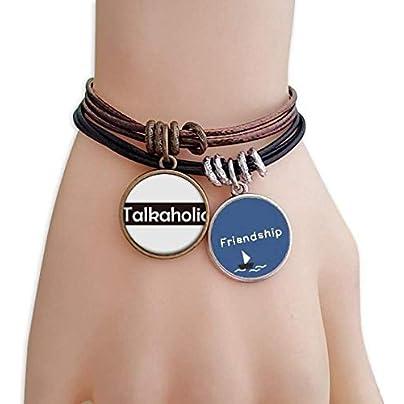 YMNW Stylish Word Talkaholic Friendship Bracelet Leather Rope Wristband Couple Set Estimated Price -
