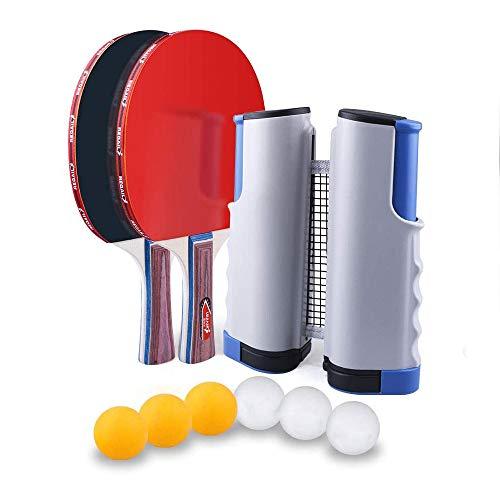 Kaizizi - Red de ping-pong, ajustable, portatil, extraible, para ping pong, extensible, hasta 170 cm, accesorios deportivos para interior, Gris+azul, 1.7M