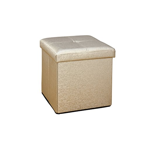 Simplify Faux Leather Folding Storage Ottoman Cube In