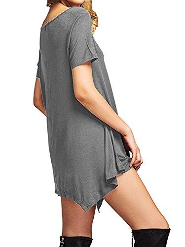 Plage Robe Américaine Maxi Robes Casual Femmes Tendances Midi Pour Leggings Tuniques Pour Femmes Manches Gris Militaire À Manches Courtes Simple Court