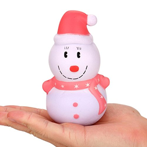 Christmas Toy, UMFun Xmas Snowman Scented Slow Rising Decompression Toy Charms Soft Squishy Release Stress 12cm (Red) (Soft Snowman)