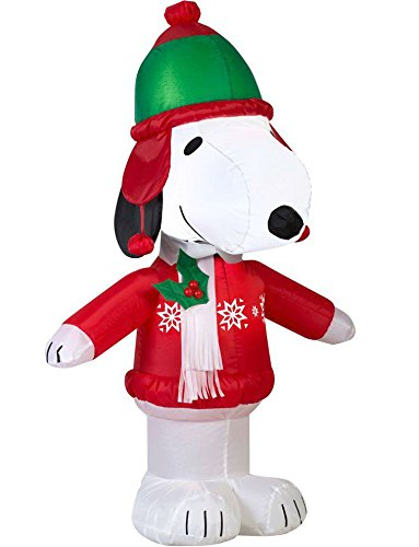 Gemmy Airblown Inflatable Snoopy Wearing a Winter Outfit - Indoor Outdoor Holiday Decoration, 3.5-foot Tall