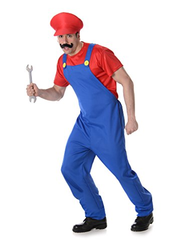 [Men's Plumber (RED) - Halloween Costume (XL)] (70s Couple Costumes)